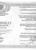 Стрельников Дмитрий Павлович:фото сертификатов, диплома